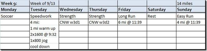 Week 9 planned